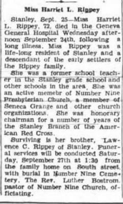 Harriet L Rippey 25 Sep 1941 Geneva Daily Times Obit.JPG