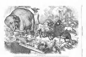 1874 Nast cartoon featuring the first notable appearance of the Republican elephan.jpg