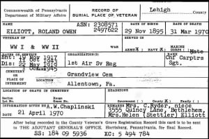 Roland Elliott Pennsylvania Veterans Burial Card.JPG