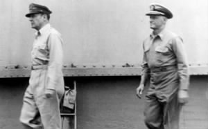 General of the Army Douglas MacArthur (left) and Fleet Admiral Chester W. Nimitz.jpg