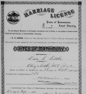 Dan L Little E McBee 1897 Marr License.jpg