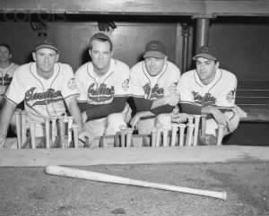 Joe Gordon Ken Keltner Dale Mitchel and Lou Boudreau Sept 30 1948.jpg
