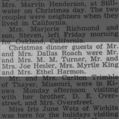M.M. Turner -- Christmas Dinner Guest of Dallas Roach