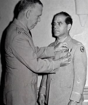 Frank Capra receiving the Distinguished Service Medal from Gen'l. George C. Marshall (1945).jpg