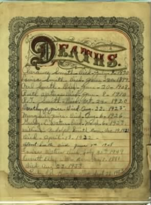 Louise Smith Waters' Family Bible Page