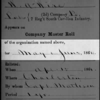 Muster Roll dated 1864. He died May 14, 1862