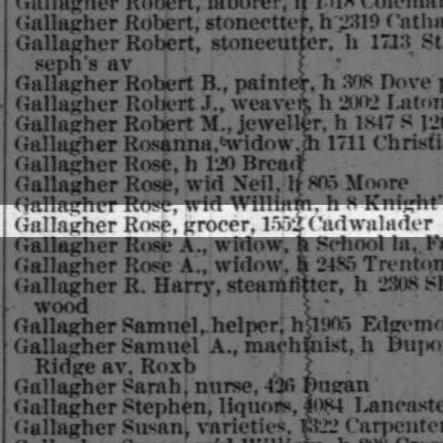 Gallagher Rose, grocer, 1552 Cadwalader
