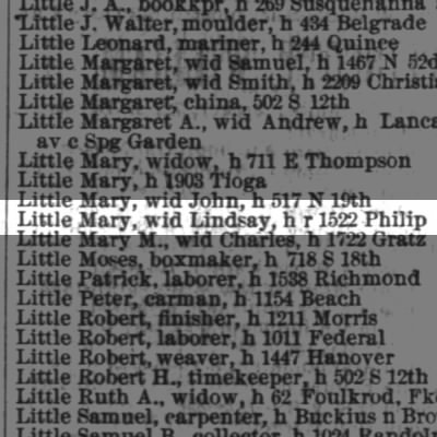 Little Mary A., wid Lindsay, h r 1522 Philip