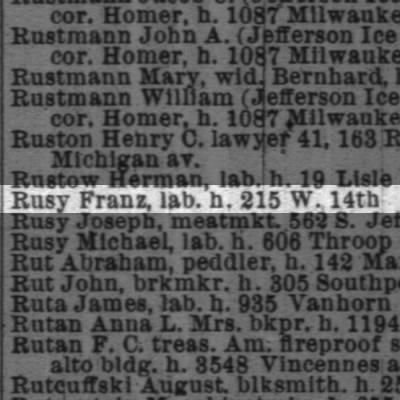 Rusy, Franz   1889 Chicago City Directory