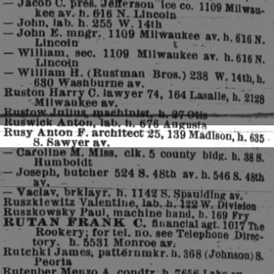 Rusy, Anton  1895 Chicago City Directory
